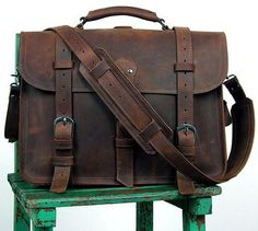 Front view of Selvaggio Handmade Rugged Leather Briefcase & Heavy Duty Backpack