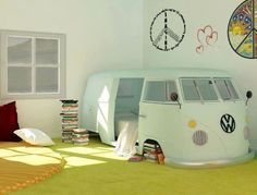 Repurposed antique volts wagon into kids bed