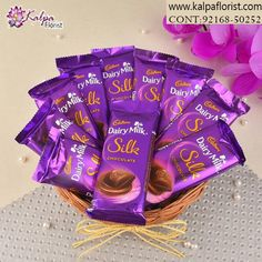 Order chocolates online for delivery in Jalandhar. Send chocolates bouquets and cake to Jalandhar, fast delivery in Jalandhar by Kalpa Florist. Cheap Chocolate, Silk Chocolate, Chocolate Basket, Chocolate Hampers, Dairy Milk Chocolate, Cadbury Dairy Milk, Cadbury Chocolate, Chocolate Bouquet, Chocolate Gifts