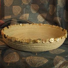 Fabric Coiled Basket Bowl Pearl Buttons Shells by cowgirlrosie, $95.00