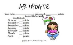 This is a great form to notify parents of their child's Accelerated Reader progress. All you have to do is fill in your student's monthly goals and...