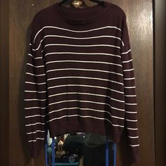 ✨SALE✨ Brandy Melville Maroon Striped Sweater Worn twice. Dark maroon with white stripes. 100% cotton. No Brandy tag, but care tag is attached. NO TRADES. NO MODELING.  Please give me a few days to ship. I have to print my shipping labels at work  Thank you! Brandy Melville Sweaters Crew & Scoop Necks