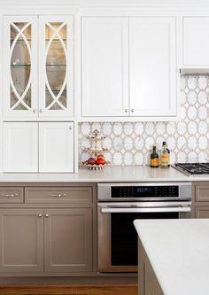 White and Taupe Kitchen Backsplash Tiles - Transitional - Kitchen Taupe Kitchen, Taupe Kitchen Cabinets, White Kitchen Remodeling, Kitchen Remodel, Small Kitchen Remodel Cost, Country Kitchen, Home Kitchens, Kitchen Remodel Design, French Country Kitchens