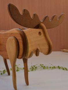 Handnade Wood Moose Candy Dispenser