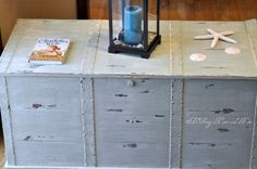 DIY whitewash painting of a trunk.  great color schemes as well for painting