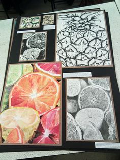 The GCSE art I've done over the past year presented. My favourite is the mixed media Citrus Fruits (oil pastel, acrylic and collage) Top Left: Coloured Pen Pineapple Skin Top Middle: Pyrography Pin...
