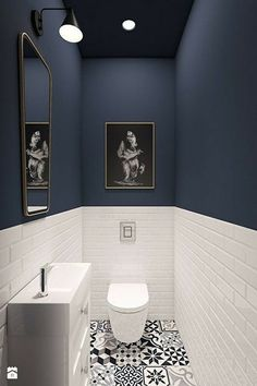 93 Cool Black And White Bathroom Design Ideas oneonroom - Wohnkultur // Badezimmer im Erdgeschoss - Bathroom Decor Downstairs Bathroom, Bathroom Small, Bathroom Black, Cool Bathroom Ideas, Bathroom Toilets, Mosaic Bathroom, Dark Blue Bathrooms, Bath Ideas, Bathroom Modern