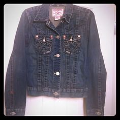 "True Religion jeans jacket True Religion jean jacket ""Jimmy"", size small. Excellent condition! Slight distressing is part of the style. True Religion Jackets & Coats Jean Jackets"