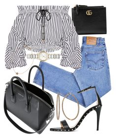 """""""Untitled #22150"""" by florencia95 ❤ liked on Polyvore featuring Levi's, Gucci, Caroline Constas, Burberry, Valentino, Givenchy, Effy Jewelry and Kismet"""