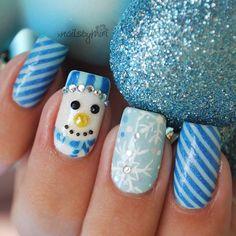Snowman, blue candy cane