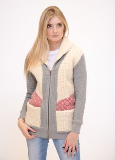 Who doesn't love a good sweater?  The Margaux cardigan isconstructed with two front pockets from french terry in grey mix and lightweight upcycled vintage sweater panels in neutral tones.