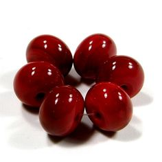 Glossy Medium Red Lampwork Beads Shiny Glass Beads Opaque 432g
