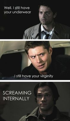 ^_________________^  lol Sam's scream is a fan girl scream, because we all know he ships Destiel too :3