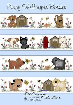 Puppy Wallpaper Border Wall Decals Baby Boy Girl Nursery Childrens Dog Bedroom…