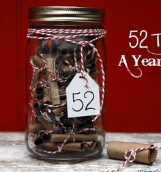 52 reasons I love you - jar from mason jars / 52 dolog amit imádok benned üveg befőttes üvegekből / Mindy - creative craft ideas