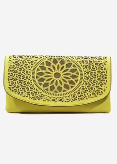 yellow laser cut envelope clutch, small handbag, melie bianco clutches, faux leather clutch, yellow and metallic gold laser cut clutch, pop color handbags