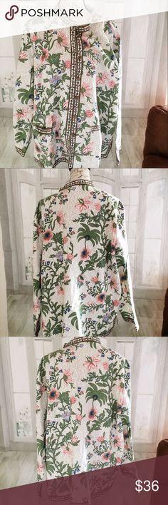 "Tudor Court NWT Jacket 3X Floral Women's Plus 29"" long, 29"" armpit to armpit, 24.5"" sleeve . Unlined. Lightweight.  Long sleeves. Tudor Court Jackets & Coats"