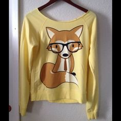 Geeky fox crew neck sweatshirt Used once, too small on me Sweaters Crew & Scoop Necks