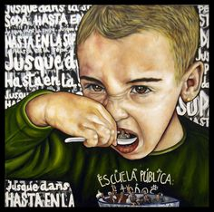 Hasta en la sopa: Daniela 2015 technique mixte sur toile 100 x 100 cm
