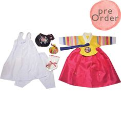 Yellow and Pink - Girl Dol Hanbok Set - 7 Pieces