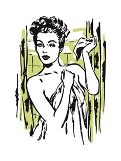 Woman Wrapped in Towel Leaving Shower Print by Pop Ink - CSA Images at Art.com