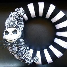 Jack Skellington The Nightmare Before Christmas wreath by HalloQween Creations on Facebook. :)