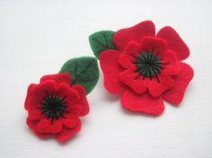 Poppy Brooch Felt Christmas Felt Flower Brooch by GracesFavours