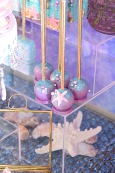 """Cake pops from a Pastel """"Let's Be Mermaids"""" Birthday Party via Kara's Party Ideas 