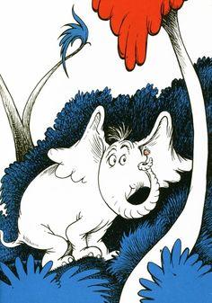 Seuss illustration from Horton Hears a Who Dr Seuss Illustration, Elephant Illustration, Dr Seuss Art, Dr Suess, O Grinch, Horton Hears A Who, Children's Literature, Cartoon Kids, Illustrators