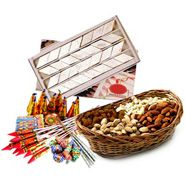 dryfruits with crackers Diwali Flowers, Diwali Gifts, Online Gifts, Crackers, Dog Food Recipes, Decorative Boxes, Basket, Sweets, Asia