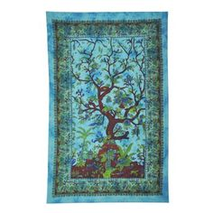 The tree of life on this gorgeous tapestry wall hanging symbolizes strength, longevity, and wisdom. With its interwoven roots and branches, it depicts the connections between earth, the spirit world, and the universe. This giant wall hanging can also be used as a tablecloth, bedspread, picnic blanket, and more! Now with tabs for easy hanging without tack holes!