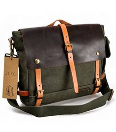 "ZLYC Retro Men's Handmade Waterproof Canvas Leather Messenger Shoulder Bag Briefcase Fits Up To 14"" laptops ZLYC http://www.amazon.co.uk/dp/B00MM0M8YM/ref=cm_sw_r_pi_dp_jui6tb1AGNHZY"