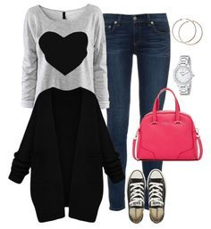 Cute Outfit Ideas of the Week -- heart sweatshirt, jeans, black cardigan, converse and a pink handbag.