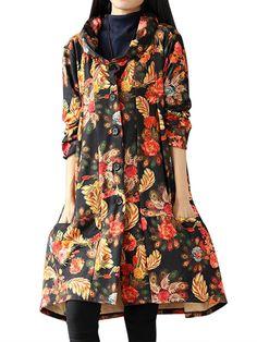 Sale 26% (38.29$) - Vintage Floral Printing Long Sleeve Loose Plus Velvet Thick Coat