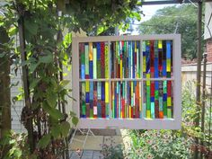 stained glass window treatment...Chicago Bungalow 6 pane vintage window with handmade rainbow colors