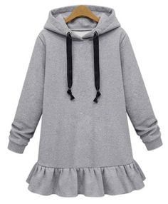 Stylish Solid Color Ruffles Loose-Fitting Long Sleeve Women's Hoodie