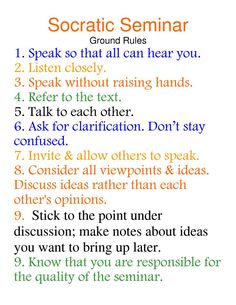 socratic seminar | Socratic Seminar Ground Rules