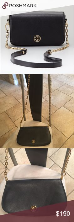 """Tory Burch Black Mini Chain Handbag Worn Once!! Excellent Condition. Measures 11.5"""" wide and 6.5""""long. Retails for $390 but Sold Out. Beautiful Black Saraffino Leather!! Can be used as a Crossbody or Clutch as Chain is removable. Chain is 48"""" long. Tory Burch Bags Crossbody Bags"""