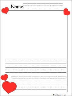 This is Kindergarten Valentine's Day writing paper available FREE on Madebyteachers.com. There are wide Print Practice lines for writing and plenty of space for expressive drawing and coloring.