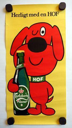 1970s Carlsberg Beer Beer Dog Original Vintage by OutofCopenhagen