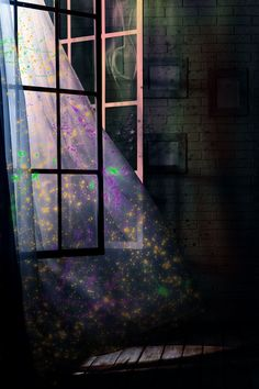 How to Make Your Own Glow Curtains: throw glow in the dark paint/stuff on sheer curtains