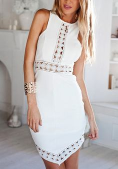 This white sleeveless asymmetrical dress got a sexy cutouts at the chest, waist and hem for a tantalizing look. | Lookbook Store