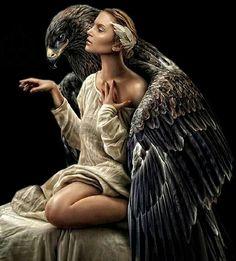 beauties and their earthly avatars women and eagle 2 Fantasy World, Fantasy Art, Super Heroine, Eagle Art, Fantasy Photography, Foto Art, Spirit Animal, Fantasy Characters, Beautiful Birds