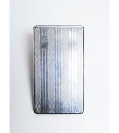 Vintage Cigarette Case holder in silver metal, card case, engine turned design, mad men, smoker, by EbyVintage on Etsy