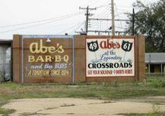 Abe's Bar-B-Q Clarksdale, MS ~ chilli cheese burgers, bbq, and ruffles w/ Abe's bbq sauce YUM!!!