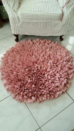 Handmade Pink Shag Rag Rug, Hand Crochet Shag Rug, Round Shag Rag Rug From Made Of Flaws