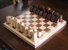 Unique Handmade Wooden Chess Set