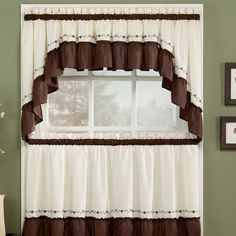 Curtain White And Brown For Kitchen With Rustic Style Cortinas Para Cocinas Con Estilo Rústico