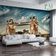 London Tower Bridge on sunset Wall Mural, London Tower Bridge Photo Mural, Sunset London wall decor