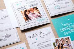 Hip en stijlvolle trouw huisstijl met RSVP, save the date, tafelkaartjes en bedankkaartjes.